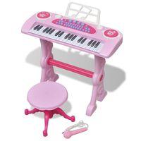 Детско пиано с 37 клавиша, стол и микрофон, розов цвят