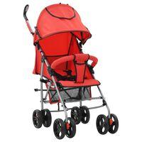 vidaXL Сгъваема детска количка/бъги 2-в-1, червена, стомана