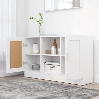 vidaXL Бюфет, бял гланц, 120x30,5x70 см, ПДЧ