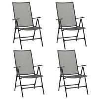 vidaXL Сгъваеми мрежести столове, 4 бр, стомана, антрацит