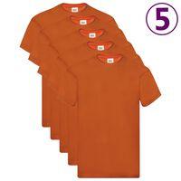 Fruit of the Loom Оригинални тениски, 5 бр, оранжеви, XL, памук