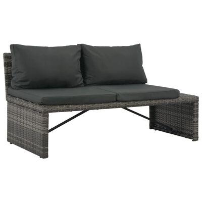 vidaXL Градински комплект с възглавници, 3 части, полиратан, сив