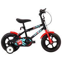 vidaXL Детски велосипед, 12 цола, черно и червено
