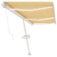 vidaXL Ръчно прибиращ се сенник с LED, 600x300 см, жълто и бяло