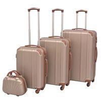 vidaXL Комплект от 4 броя твърди куфари на колелца, цвят шампанско