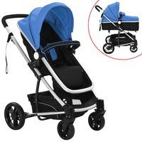 vidaXL Детска/бебешка количка 2-в-1, алуминий, синьо и черно