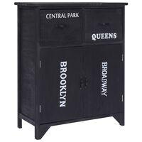 vidaXL Страничен шкаф, черен, 60x30x75 см, пауловния