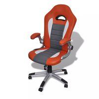 Елегантен офис стол от изкуствена кожа, цвят: оранжев