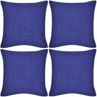 vidaXL Калъфки за възглавници, 4 бр, памук, 40 x 40 см, сини