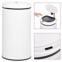 vidaXL Кош за смет с автоматичен сензор 60 л въглеродна стомана бял