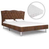 vidaXL Легло с матрак, кафяво, плат, 140x200 см