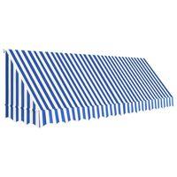 vidaXL Бистро сенник, 400х120 см, синьо и бяло