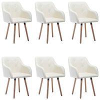 vidaXL Трапезни столове, 6 бр, кремави, текстил