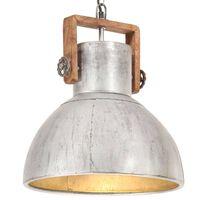vidaXL Индустриална пенделна лампа 25 W сребриста кръгла 40 см E27