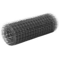 vidaXL Кокошкарска мрежа, стомана с PVC покритие, 25х0,5 м, сива