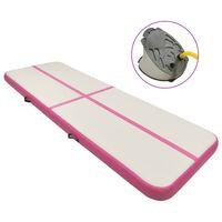 vidaXL Надуваем дюшек за гимнастика с помпа, 400x100x20 см, PVC, розов