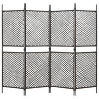 vidaXL Параван за стая, 4 панела, полиратан, кафяв, 240x200 см