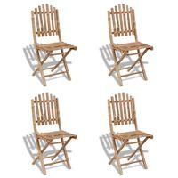 vidaXL Сгъваеми външни столове, 4 бр, бамбук