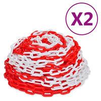 vidaXL Предупредителни вериги 2 бр червено и бяло пластмаса 30 м