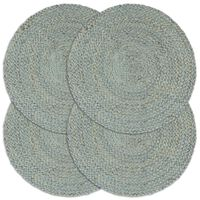 vidaXL Подложки за хранене, 4 бр, маслиненозелени, 38 см, кръгли, юта