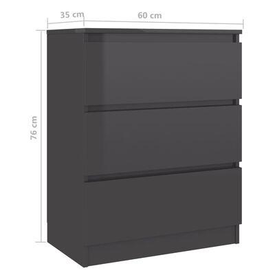 vidaXL Бюфет, сив гланц, 60x35x76 см, ПДЧ