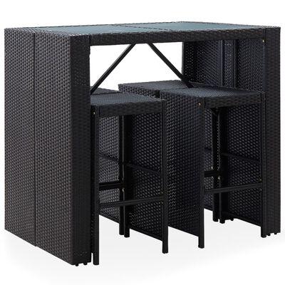 vidaXL Градински бар комплект, 5 части, полиратан и стъкло, черен