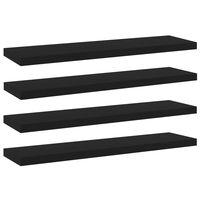 vidaXL Рафтове за етажерка, 4 бр, черни, 40x10x1,5 см, ПДЧ