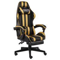 vidaXL Геймърски стол с подложка за крака черно/злато изкуствена кожа