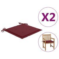 vidaXL Възглавници за градински столове 2 бр червени 50x50x4 см плат
