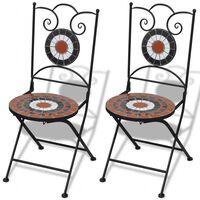 vidaXL Сгъваеми бистро столове, 2 бр, мозайка, теракота и бяло