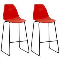 vidaXL Бар столове, 2 бр, червени, пластмаса
