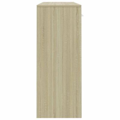 vidaXL Бюфет, бяло и дъб сонома, 110x34x75 см, ПДЧ