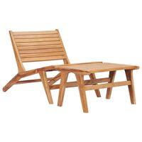 vidaXL Градински стол с подложка за крака, тиково дърво масив