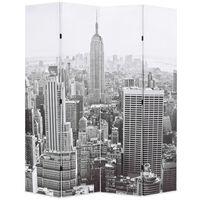 vidaXL Сгъваем параван за стая, 160x170 см, дневен Ню Йорк, черно-бял