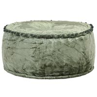 vidaXL Кръгъл пуф, кадифе, 40x20 см, зелен