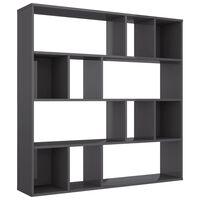 vidaXL Разделител за стая/библиотека, сив гланц, 110x24x110 см, ПДЧ