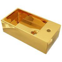 vidaXL Мивка с преливник, 49x25x15 см, керамична, златиста