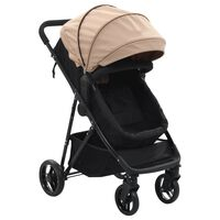 vidaXL Детска/бебешка количка 2-в-1, таупе и черно, стомана