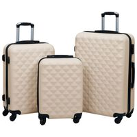 vidaXL Комплект твърди куфари с колелца, 3 бр, златист, ABS