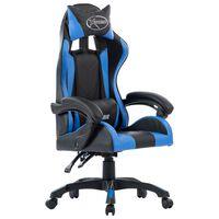 vidaXL Геймърски стол, син, изкуствена кожа