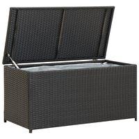 vidaXL Градински сандък за съхранение, полиратан, 100x50x50 см, черен