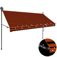 vidaXL Ръчно прибиращ се сенник с LED, 300 см, оранжево и кафяво