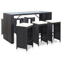vidaXL Градински бар комплект с възглавници, 7 части, полиратан, черен