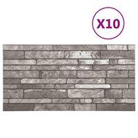 vidaXL 3D стенни панели, тухлен дизайн, тъмносиви, 10 бр, EPS