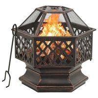 vidaXL Рустик преносимо огнище с ръжен, 62x54x56 см, XXL, стомана
