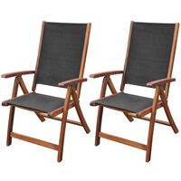 vidaXL Сгъваеми градински столове, 2 бр, акация масив и textilene