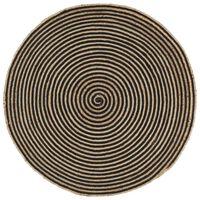 vidaXL Ръчно тъкан килим от юта, дизайн на спирали, черен, 120 см