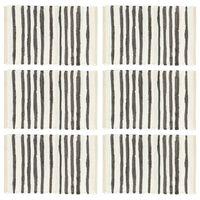 vidaXL Подложки за хранене, 6 бр, антрацит и бяло, 30x45 см, памук