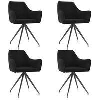 vidaXL Трапезни столове, 4 бр, черни, кадифе