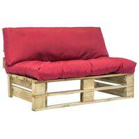 vidaXL Градински диван от палети с червени възглавници, борово дърво